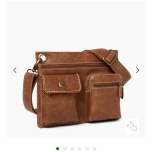 Roots Brown Village Leather Crossbody